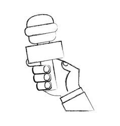 Journalist microphone isolated icon vector