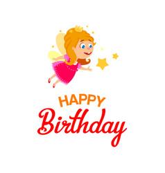 Little fairy for happy birthday vector