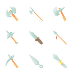 medieval weapon icons set cartoon style vector image