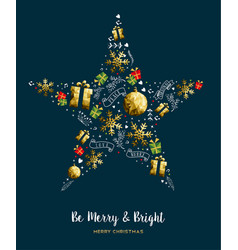 merry christmas gold low poly decoration card vector image vector image