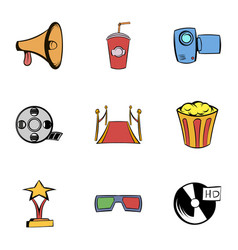 Movie icons set cartoon style vector