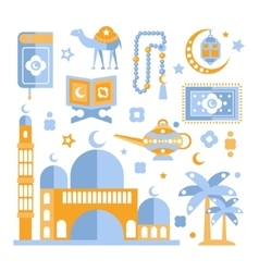Muslim religious holiday symbols set vector