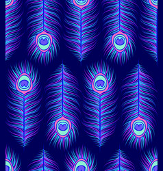 pattern with colorful peacock feathers vector image vector image