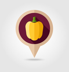 pepper flat pin map icon vegetable vector image