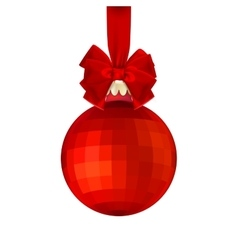 Red Christmas ball with bow EPS 10 vector image