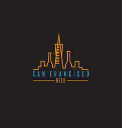 San francisco skyline with beer bottles design vector