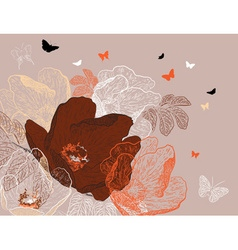 Seamless brown floral background with butterflies vector