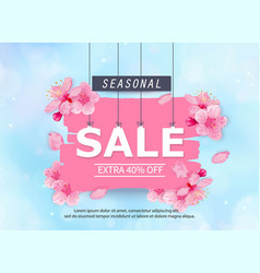seasonal sale banner with flowers vector image vector image