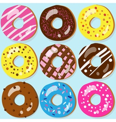 Set of 9 assorted doughnut icons with different vector