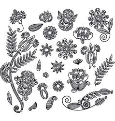 Set of hand draw black flower design vector image vector image