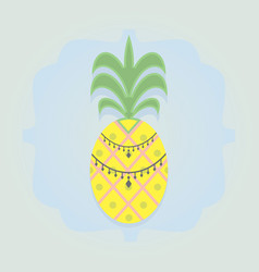 Single yellow pineapple emblem with some vector