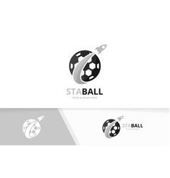 Soccer and rocket logo combination ball vector