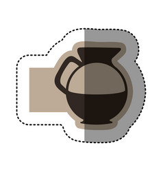 Sticker monochrome emblem with glass jar of coffee vector