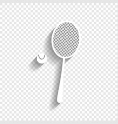 Tennis racquet with ball sign white icon vector