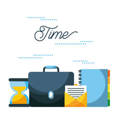 time business portfolio email book sand clock vector image