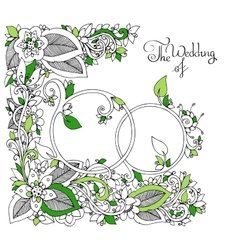 Zen tangle wedding rings in vector