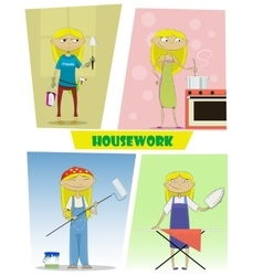Four of busy cartoon young woman vector