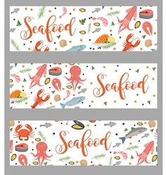 Sea food horizontal banner flat style Seafood vector image