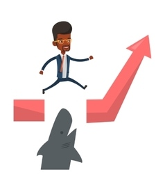 Business man jumping over ocean with shark vector