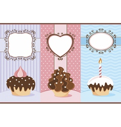 Three banners with cupcakes vector