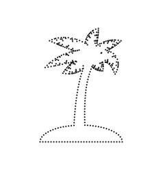 Coconut palm tree sign  black dotted icon vector