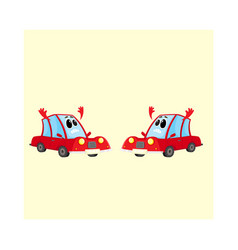 Two funny red car auto characters absolutely vector