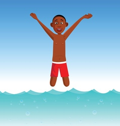 Boy plunging into a pool vector