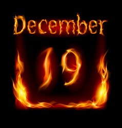 Nineteenth december in calendar of fire icon on vector