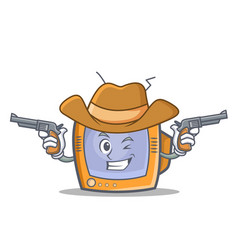 cowboy tv character cartoon object vector image