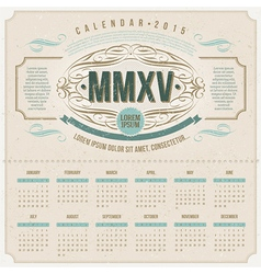 Ornate vintage calendar of 2015 vector