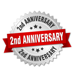 2nd anniversary round isolated silver badge vector image vector image