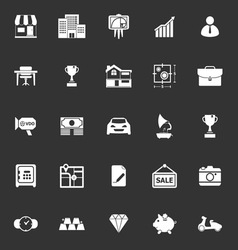 Asset and property icons on gray background vector
