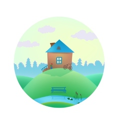 Small cute house on the hills vector