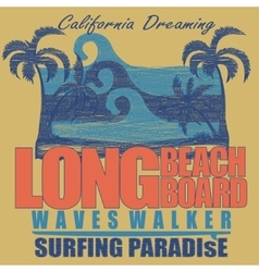 Long beach surfing t-shirt graphic design vector
