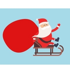 Cartoon santa claus gift sack delivery vector
