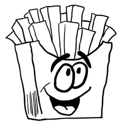 Black and white happy french fries vector