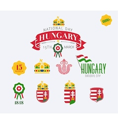 Hungary national day icon set vector