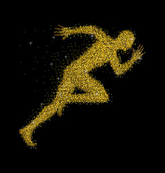 A sprinter made from gold dust vector