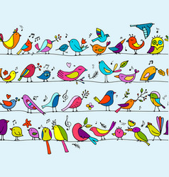 birds family seamless pattern for your design vector image