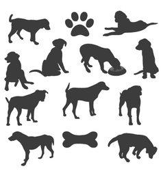 Black silhouettes of dogs vector image vector image