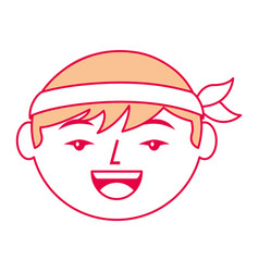 cartoon face cartoon happy chinese man vector image
