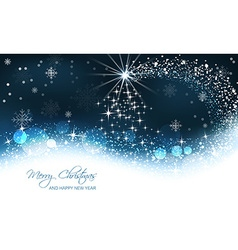 Christmas background christmas tree and snow wave vector image vector image