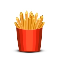 Fast food french fries in paper pac vector