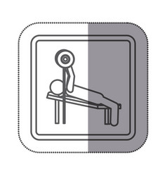 Figure man practicing weights lying down icon vector