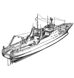 fishing ship vector image vector image