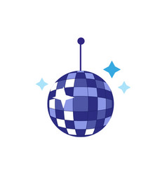 flat cartoon disco ball with stars vector image