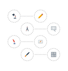 flat icons pen scheme screen and other vector image