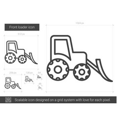 Front loader line icon vector