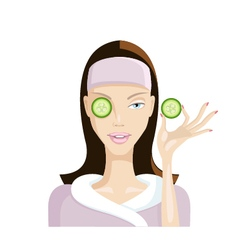 Girl does the mask of cucumber on the face vector