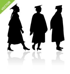 Graduate silhouettes vector